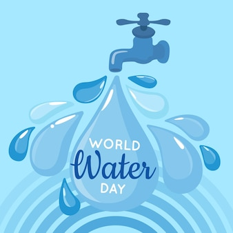 Flat world water day illustration