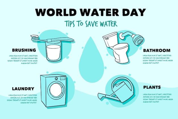 Плоский всемирный день воды инфографики