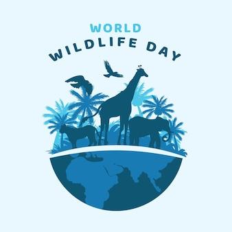 Illustrazione di giornata mondiale della fauna selvatica piatta