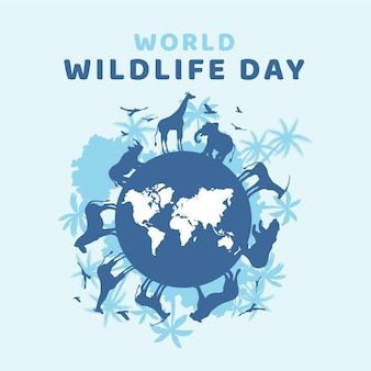 フラットな世界野生生物の日のイラスト