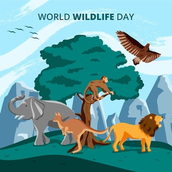 Flat world wildlife day illustration