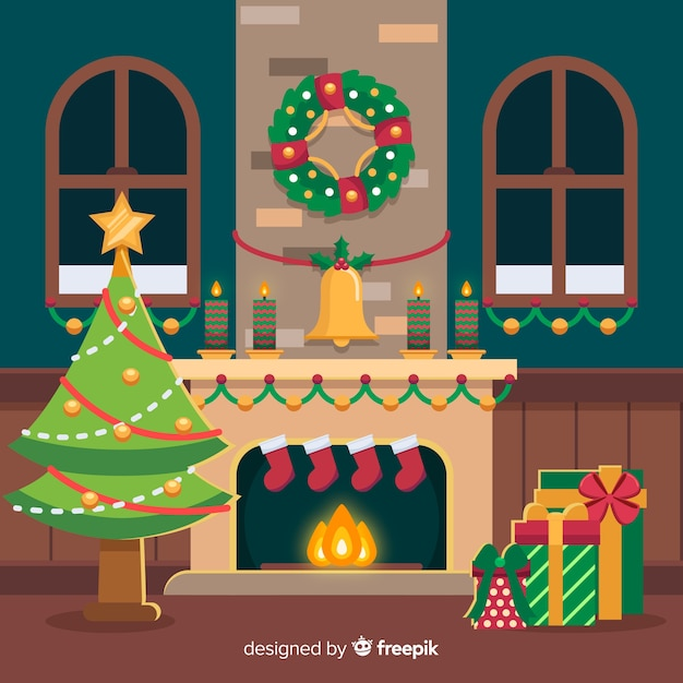 Free Flat wreath christmas fireplace scene SVG DXF EPS PNG