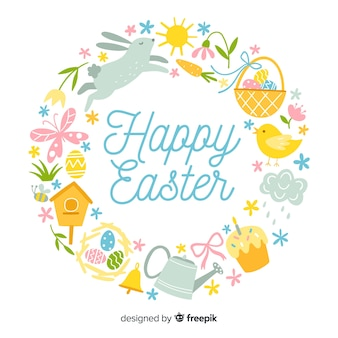 Flat wreath easter background