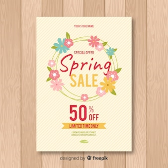 Flat wreath spring sale poster