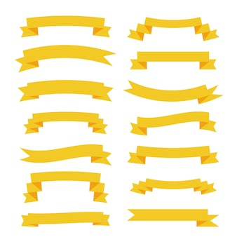 Flat yellow ribbons big set banners
