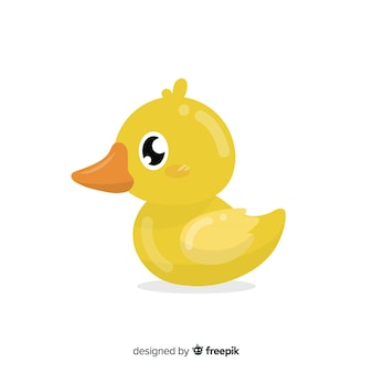 Плоская желтая резиновая детская утка на белом фоне
