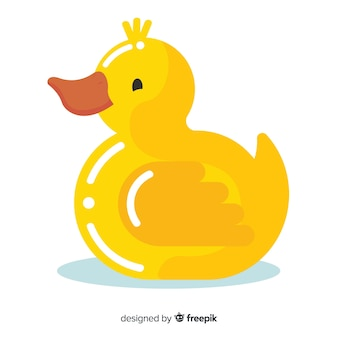 Flat yellow rubber duck for bathing