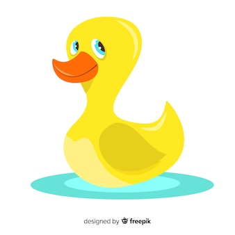 Flat yellow rubber duck looking up