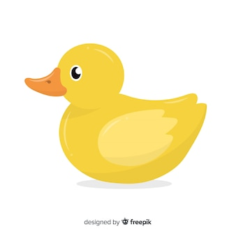 Flat yellow rubber duck on white background