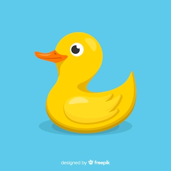Flat yellow rubber duck with water