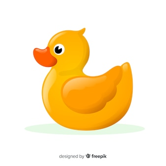 Flat yellow rubber duck