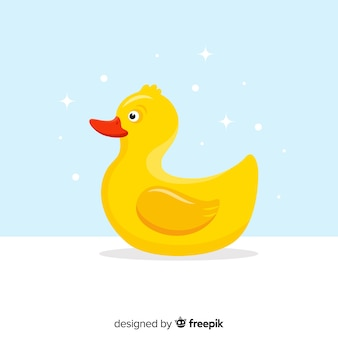 Flat yellow rubber small duck