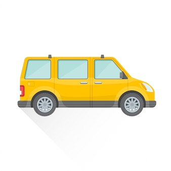 Flat yellow van car body style  icon