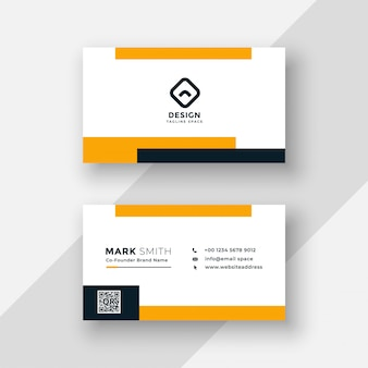 Flat yellow and white business card design