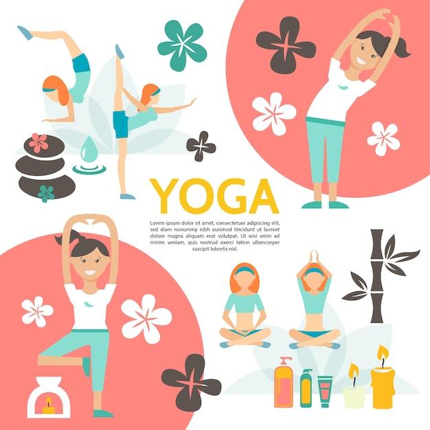 Плоский плакат йоги и гармонии с девушками, тренирующимися в разных позах, цветы, спа, косметические продукты, свечи, камни, бамбук, иллюстрация