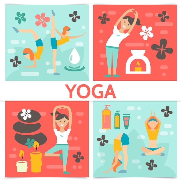 Flat yoga composition with exercising and meditating girls in different poses lotus flowers candles