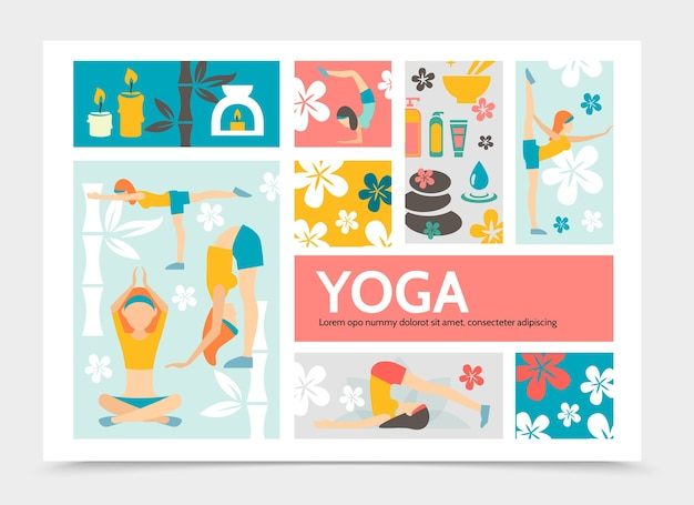 Flat yoga and harmony infographic concept with meditating girls bamboo spa cosmetic products lotus flowers stones tea candles illustration