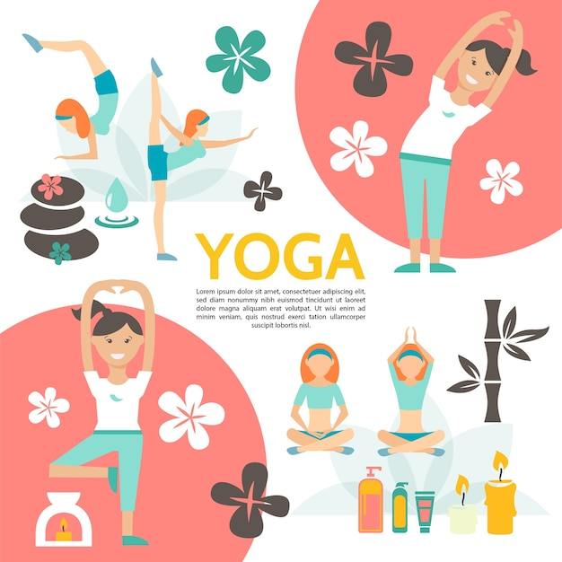 Flat yoga and harmony poster with girls exercising in different poses flowers spa cosmetic products candles stones bamboo illustration