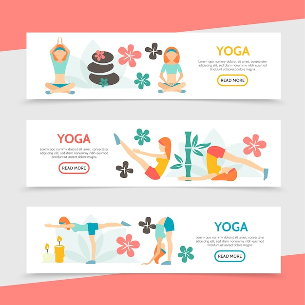 Flat yoga horizontal banners with girls meditating in different poses spa stones flowers candles bamboo illustration Free Vector