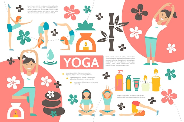 Flat yoga infographic template with girls exercising in different fitness poses bamboo spa cosmetic products flowers stones candles illustration