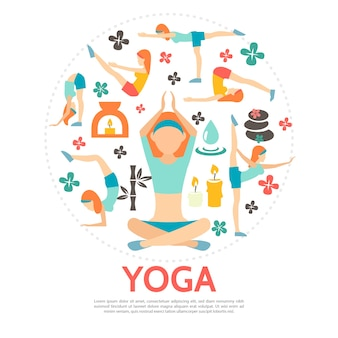 Flat yoga round concept with women in different poses bamboo spa stones candles flowers and water drop isolated illustration
