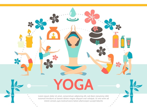 Flat yoga template with girls exercising in different poses lotus flowers spa cosmetic products stones candles bamboo isolated illustration