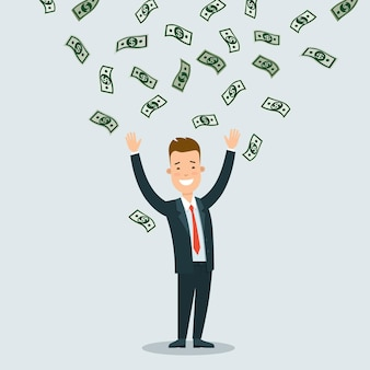 Flat young happy businessman standing under rain of money banknotes
