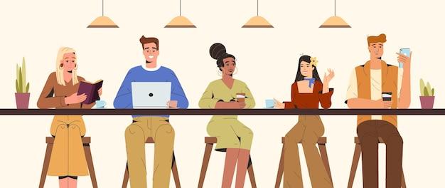 Плоские молодые люди общаются и работают в современной кофейне. студенты сидят за барной стойкой и разговаривают, пьют кофе, читают или занимаются серфингом в интернете. коворкинг, вид спереди векторные иллюстрации