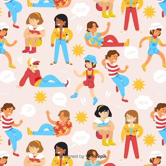 Flat young people pattern background