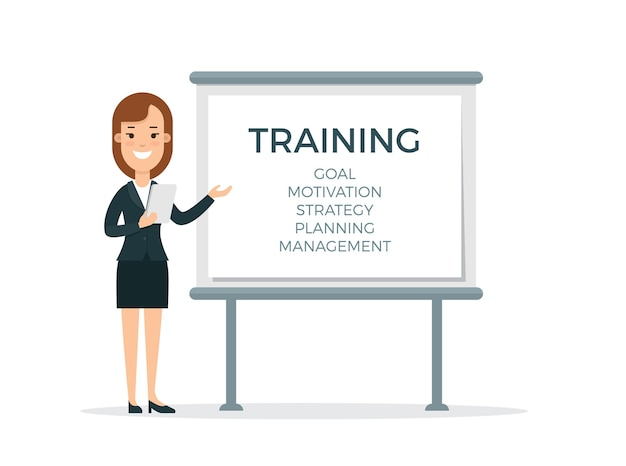 Flat young smiley female speaker with plan of education holding notebook