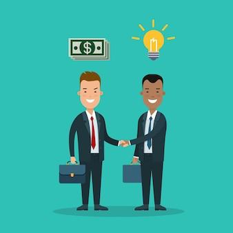 아이디어에 대한 이익을 제공하는 평평한 젊은 웃는 투자자