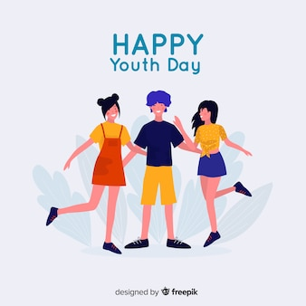 Flat youth day background with young people
