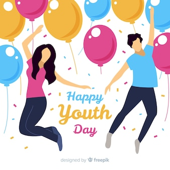 Flat youth day background