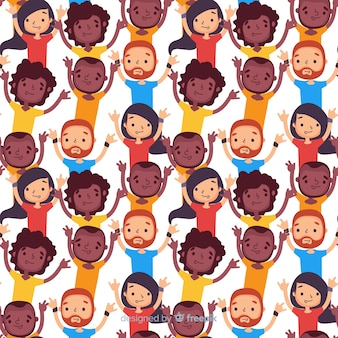 Flat youth smiling people pattern