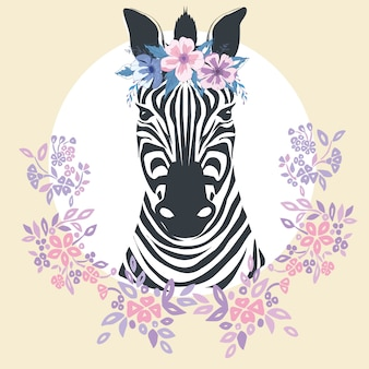 Flat zebra portrait for card, placard, invitation, book, poster, note book, sketch book.