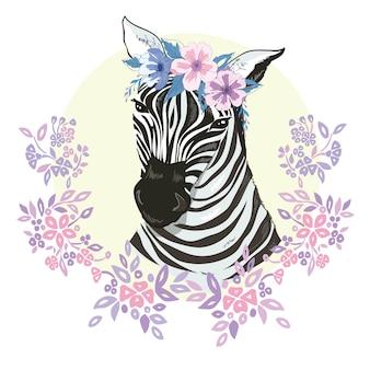 Flat zebra portrait for card, placard, invitation, book, poster, note book, sketch book.