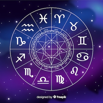 Flat zodiac wheel on galaxy background
