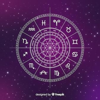 Плоское колесо зодиака на фоне галактики