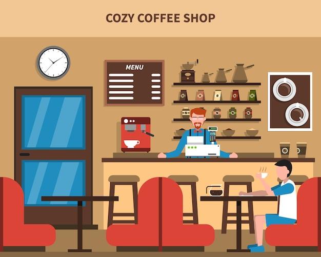 Кофейня бар интерьер ретро баннер flat