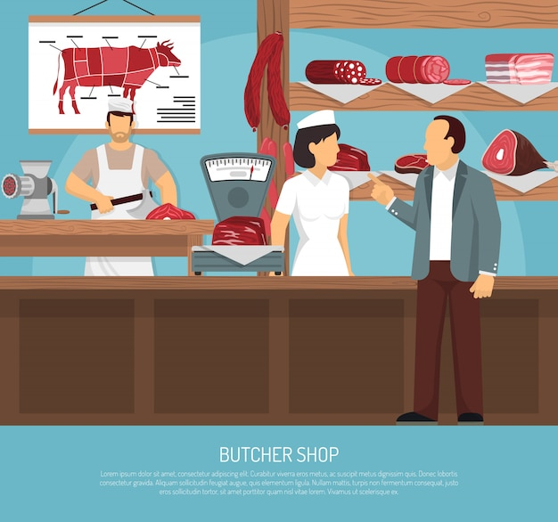 Мясной мясной магазин flat плакат