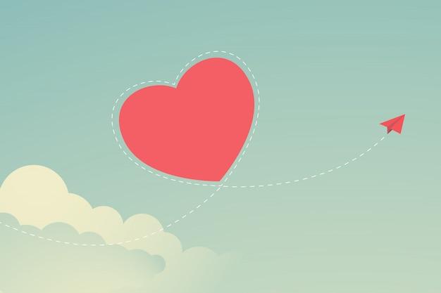 День святого валентина flat красный бумажный самолет, летящий по небу