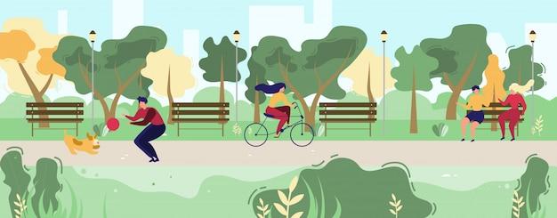 Люди мультфильма гуляя в городском общественном парке flat