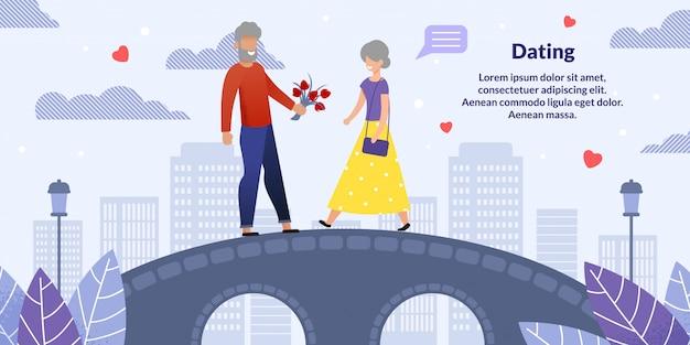 Старший мужчина и женщина на романтическое свидание flat