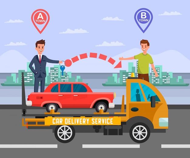 Междугородняя служба доставки автомобилей flat иллюстрация