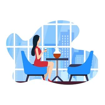 Векторные иллюстрации коворкинг кафе досуг flat.