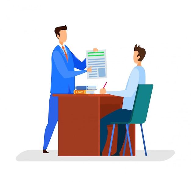 Адвокат, редактор офиса flat векторной иллюстрации