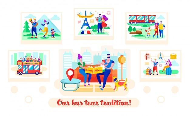 Установить письменный наш автобусный тур традиция мультфильм flat