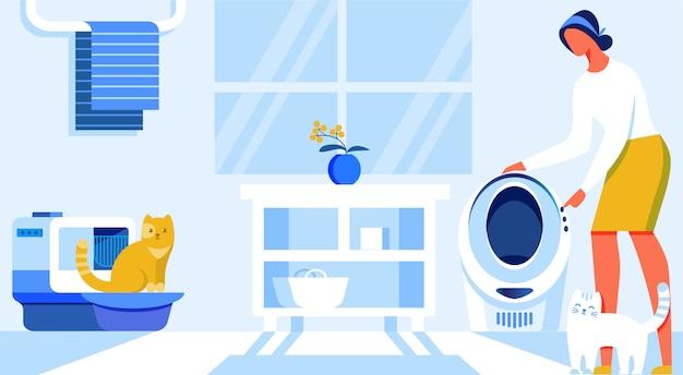 Векторная иллюстрация домашняя автоматизация мультфильм flat.