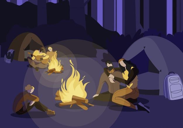 Туристы проводят ночь в лагере flat иллюстрация