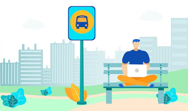 Молодой человек на автобусной остановке flat иллюстрация